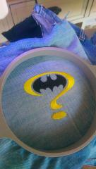 Denim clothes with Batman question mark embroidery design