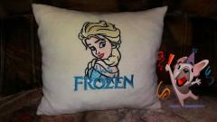 Cushion with Elsa embroidery design