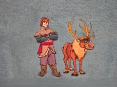 Kristoff and Sven embroidery design