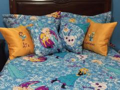 Cushions with Frozen sisters embroidery design