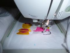 Embroidery process with Hello Kitty We are Friends design