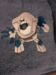 Towel with Marshmallow embroidery design