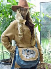 Bag with two wolfs photo stitch embroidery