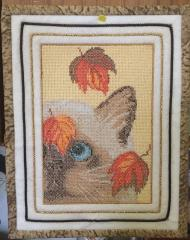 Cat autumn with leaves photo stitch free embroidery