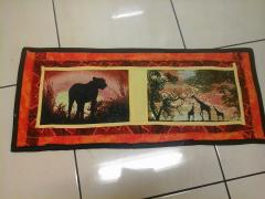 Embroidered carpet with African photo stitch landscape