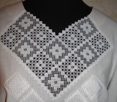 Embroidered collar design on woman's blouse