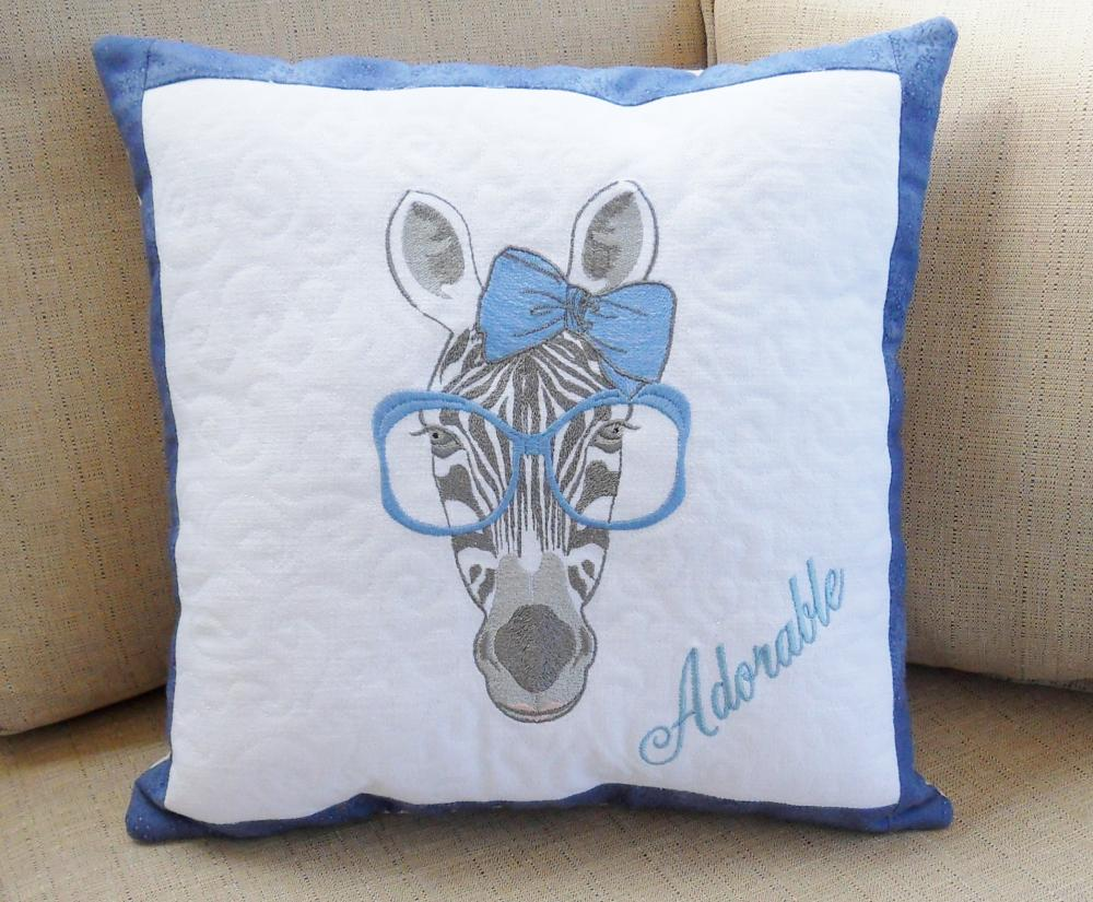 Pillow with Zebra free machine embroidery design