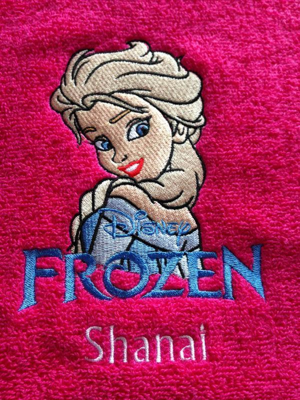 Towel with Elsa machine embroidery design