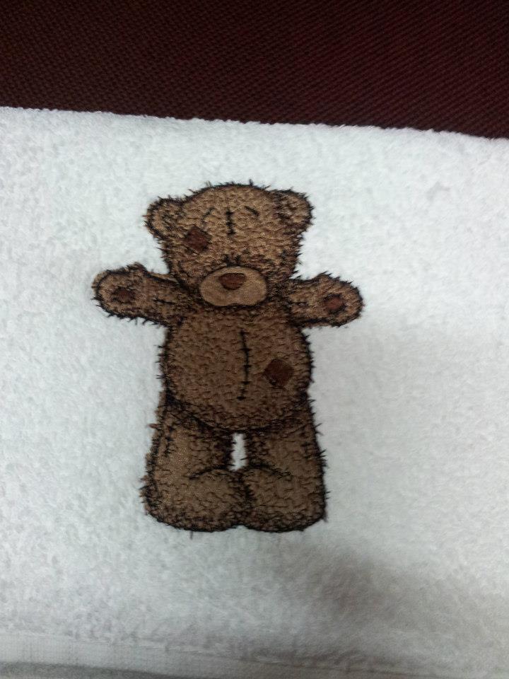 Teddy Bear Hello friend machine embroidered design