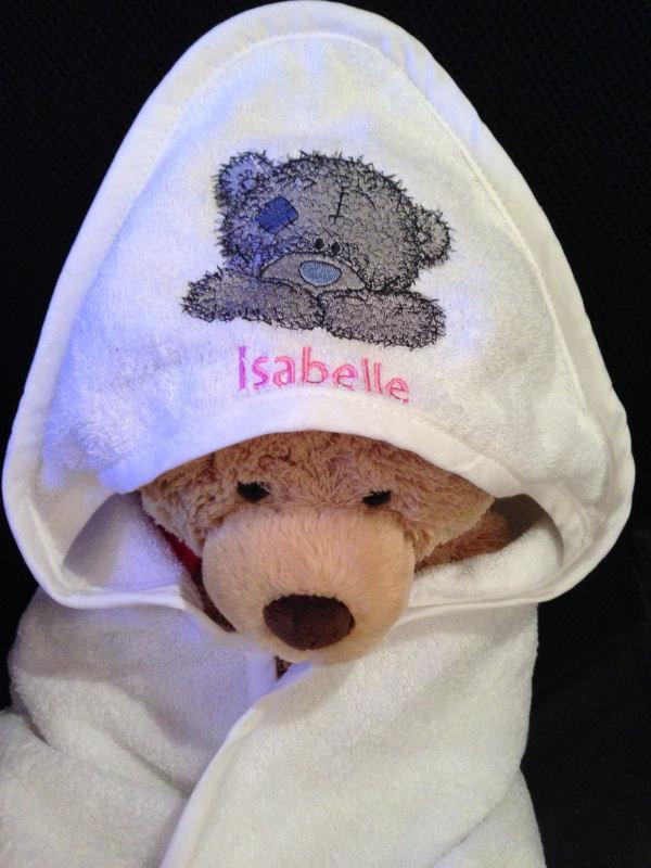 Bathrobe with Teddy Bear happy face machine embroidery design