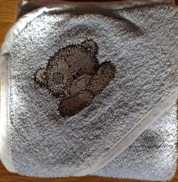 Baby bathrobe with Teddy Bear  embroidery design