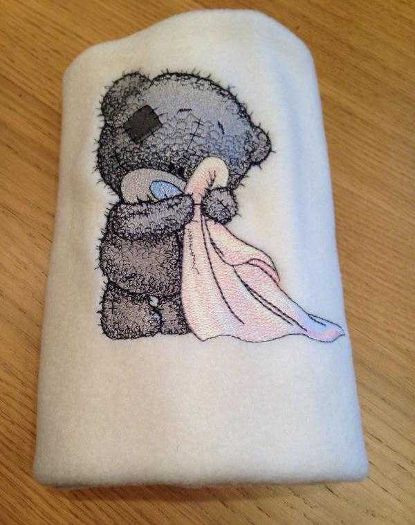 Baby towel with Teddy bear embroidery design
