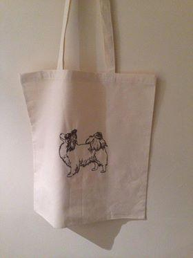 Cotton bag with dog free embroidery design