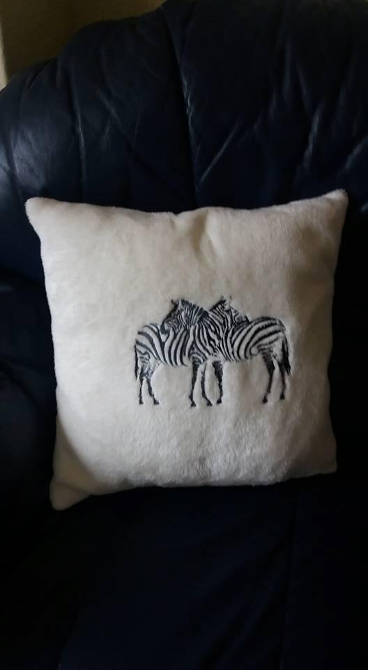 Pillow with two zebra free embroidery