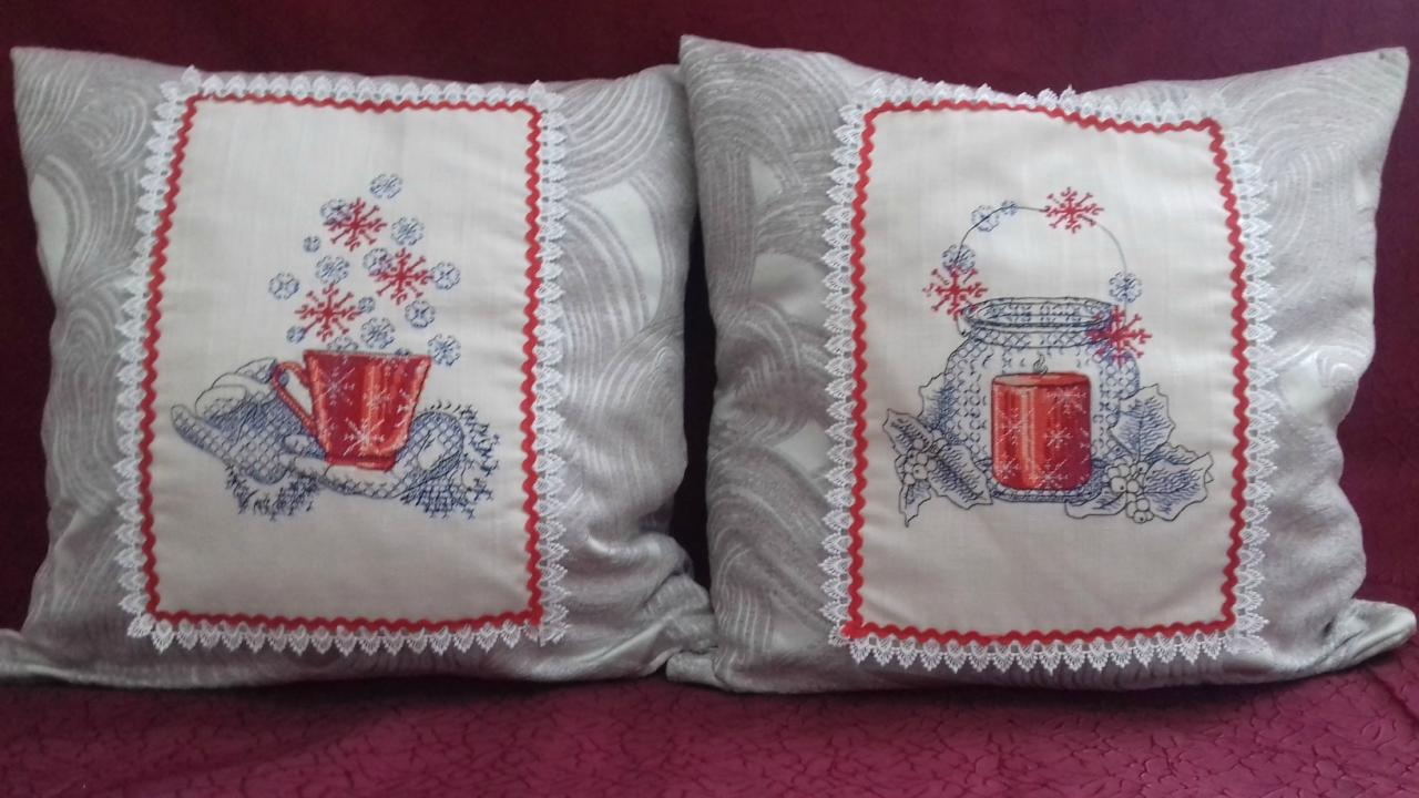 Two pillows with cross stitch kitchen free embroidery designs decoration