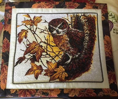 Quilt with autumn owl photo stitch free embroidery design