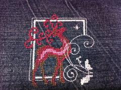 Deer cross stitch free embroidery design