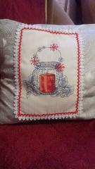 Embroidered pillow with tea pot cross stitch free design