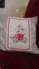 Embroidered pillow with Christmas teapot cross stitch free design