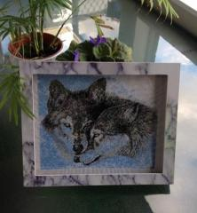Framed two wolfs photo stitch embroidery