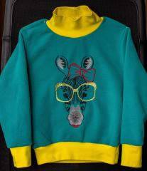 Sweater with Zebra glasses free embroidery design