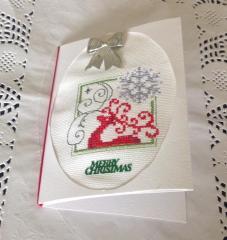 Merry Christmas embroidered postcard