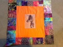 Quilt pillow with giraffe photo stitch free embroidery