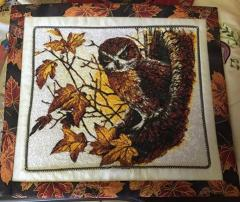 Quilt with autumn owl photo stitch free embroidery