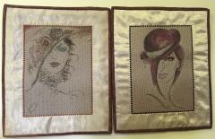Two woman's free embroidery