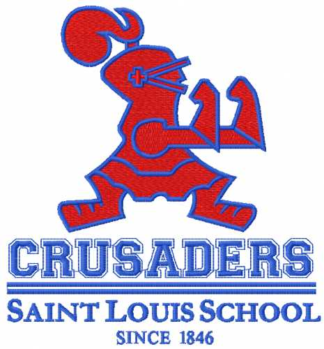 Crusaiders Saint Louis School logo embroidery design
