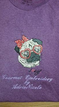 Shirt with Posh pug dog machine embroidery design