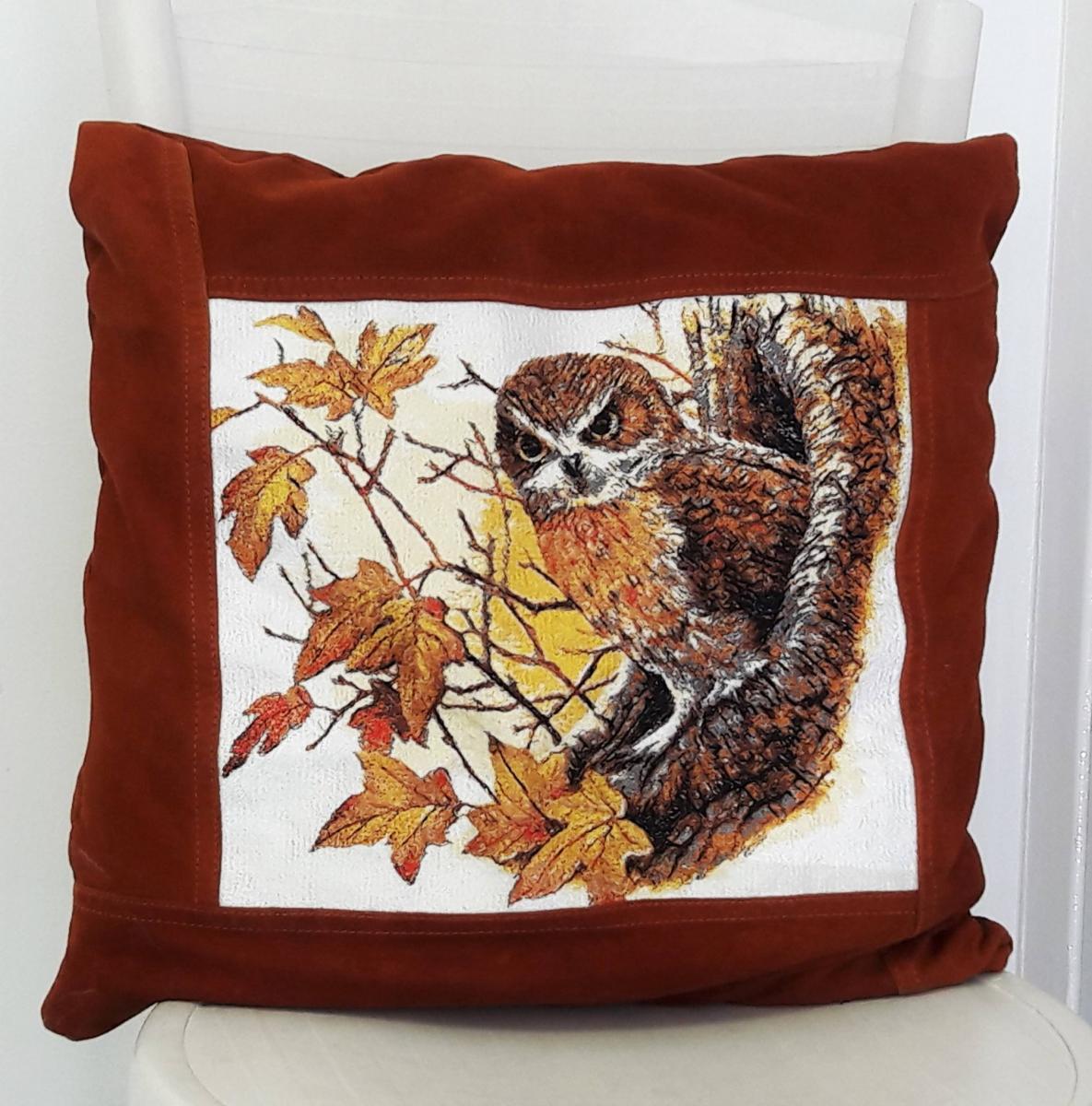 Autumn owl photo stitch embroidered pillow
