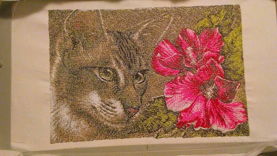 Cat and flower photo embroidery design