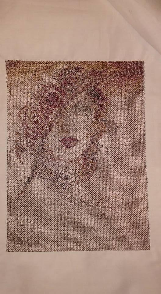Embroidered lady design photo stitch