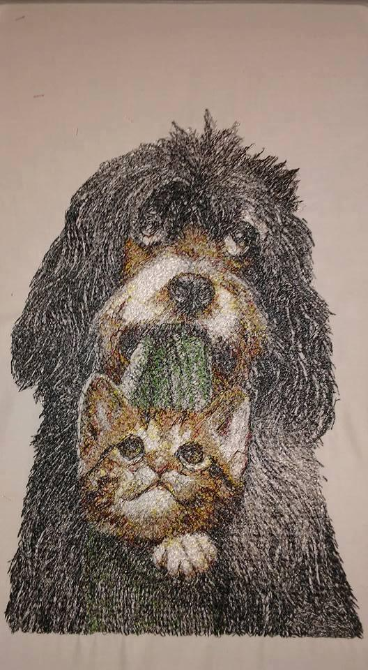 Friends photo stitch free machine embroidery design