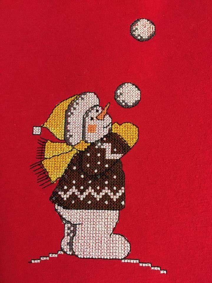 Snowman cross stitch free embroidery design