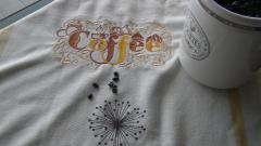Nspkin with Coffee machine embroidery design
