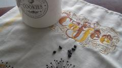 Napkim with Coffee  embroidery design
