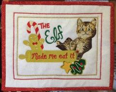 Christmas carpet with cat free embroidery design