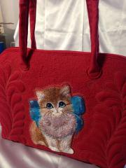 Hand bag Kitten with bow machine embroidery design