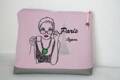 Handbag with Paris Toujours machine embroidery design