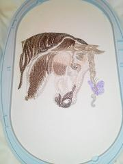 In hoop sad horse embroidery design