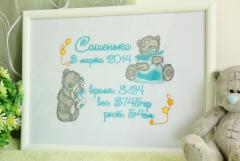 Tatty Teddy machine embroidered as gift for newborn
