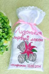 Small bag for newborn gift Teddy Bear with lily embroidery design