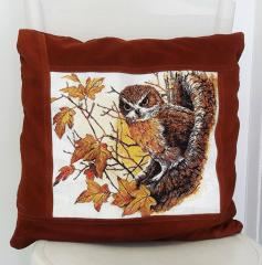 Autumn owl photo stitch embroidered pillow