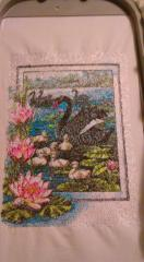 Black swans photo stitch free embroidery design