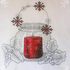 Christmas pot with candle cross stitch free embroidery design