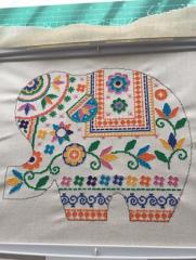 Embroidered elephant cross stitch free design