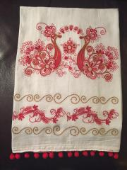 Towel with firebird cross stitch free embroidery design
