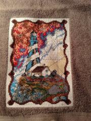Towel with lighthouse cross stitch free embroidery design